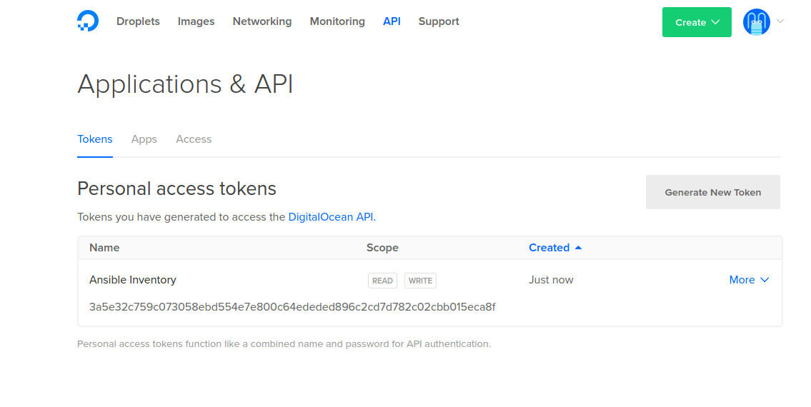 DigitalOcean API token