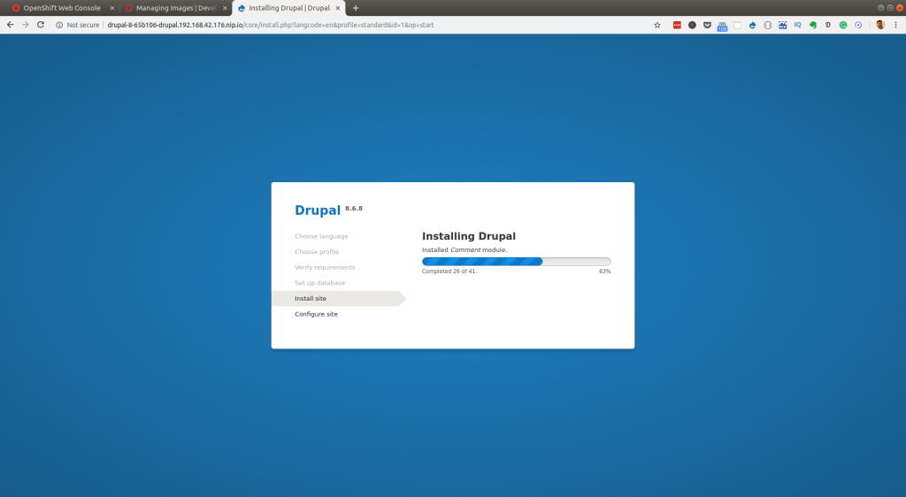 Installing Drupal from an OpenShift template