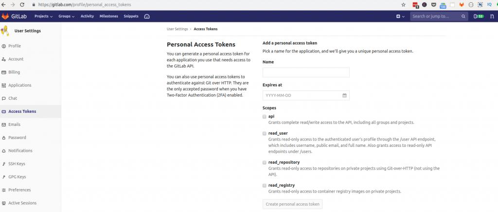 Gitlab private token